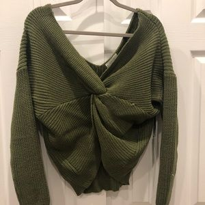 Sage the Label twist front knotted sweater NWT
